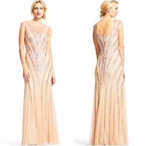 ADRIANNA PAPELL Ombre Sequin Chevron Dress